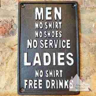 Cast Iron Free Drinks Sign