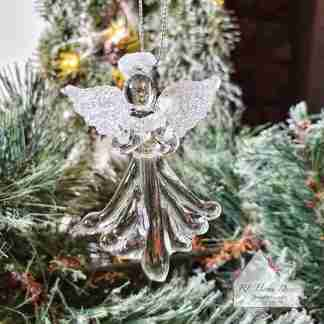 Glass Christmas Angel Holding Heart