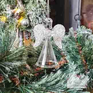 Glass Christmas Angel Glitter Wings
