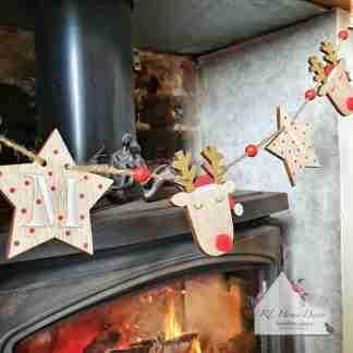 Wooden Reindeer Star Garland