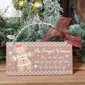 Christmas Gingerbread Woman Plaque