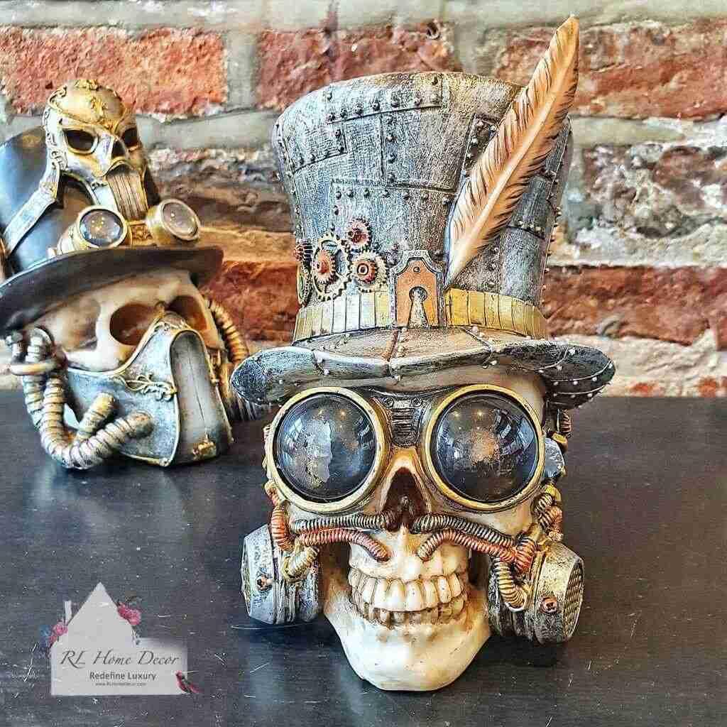 Steampunk Feather Skull Ornament