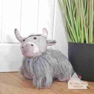 Grey Fluffy Highland Cow Doorstop