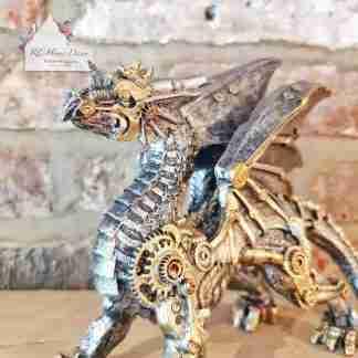Steampunk Small Silver Dragon
