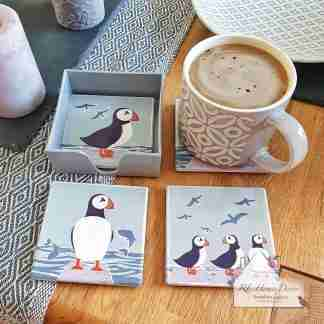 Set Of Four Puffin Coasters