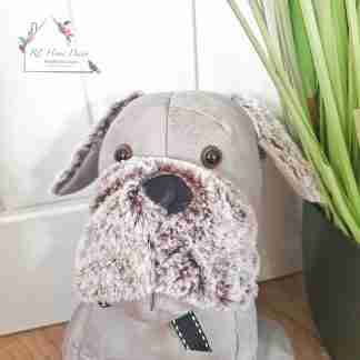 Grey Fluffy Dog Doorstop