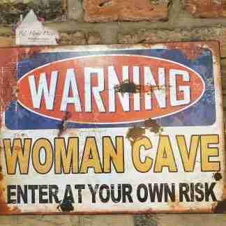 Metal Woman Man Cave Sign