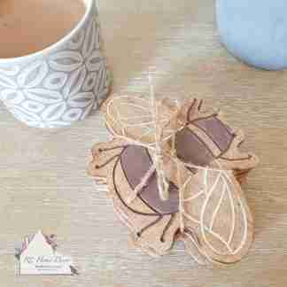 Set Of Four Wooden Bee Coasters