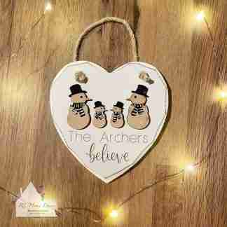 Personalised Christmas Believe Snowman Sign