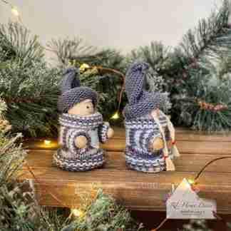 Christmas Grey Sitting Knitted Dolls