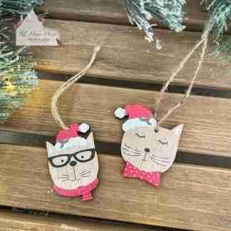 Hanging Wooden Christmas Cat Assortment
