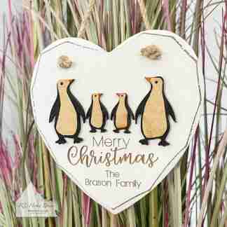 Personalised Merry Christmas Penguin Sign