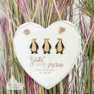 Personalised Christmas Santa Penguin Sign