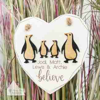 Personalised Christmas Believe Penguin Sign