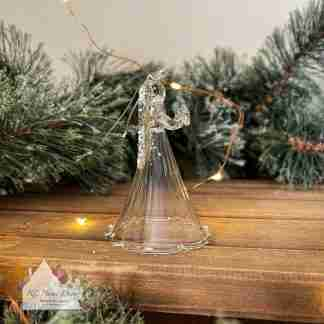 Glass Christmas Glitter Winged Angel