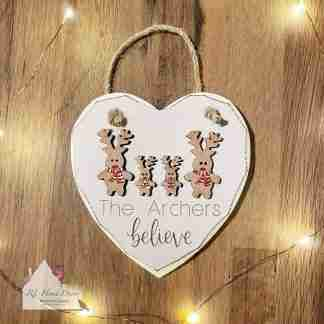 Personalised Christmas Believe Reindeer Sign